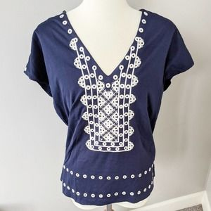 J. Crew Navy Embroidered White Eyelet Blouse Small